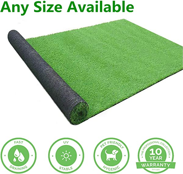GL Artificial Grass Mats Lawn Carpet Customized Sizes Synthetic Rug Indoor Outdoor Landscape Fake Faux Turf For Decor 10FTX10FT 100 Square FT
