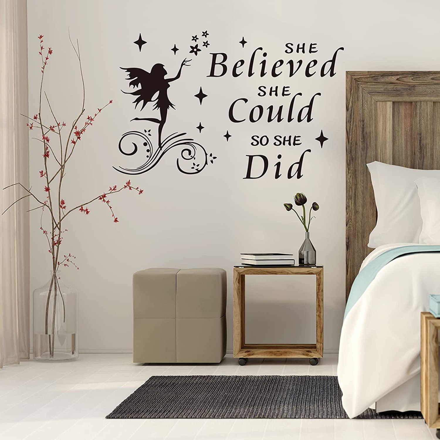 She Believed She Could So She Did Wall Decal, DILIBRA Quote Sayings Bible Slogan Lettering Fairy and Stars Wall Stickers, Inspirational Motto Home Décor for Girl Nursery Bedroom Living Room
