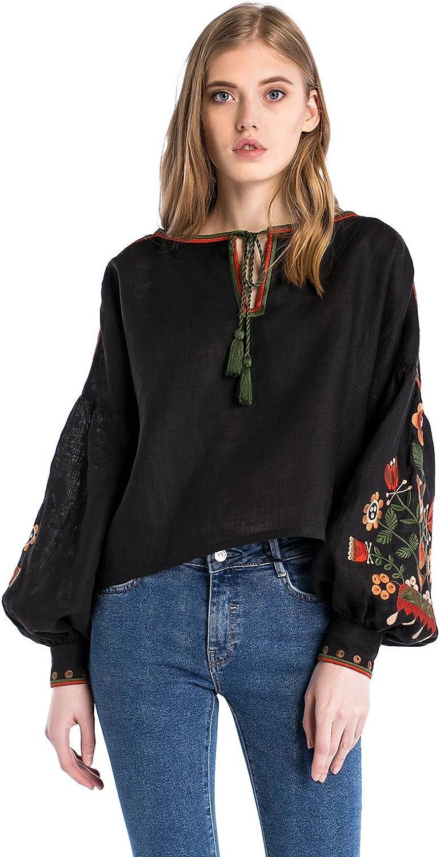 ETNODIM Woman Floral Ukrainian Ethnic Embroidered Linen Black Shirt Vyshyvanka Long Sleeve Tops Blouse