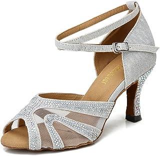 d9179349f4a TTdancewear Rhinestones Ballroom Dance Shoes Women Latin Salsa Bachata  Performance Dance Shoes Suede Sole