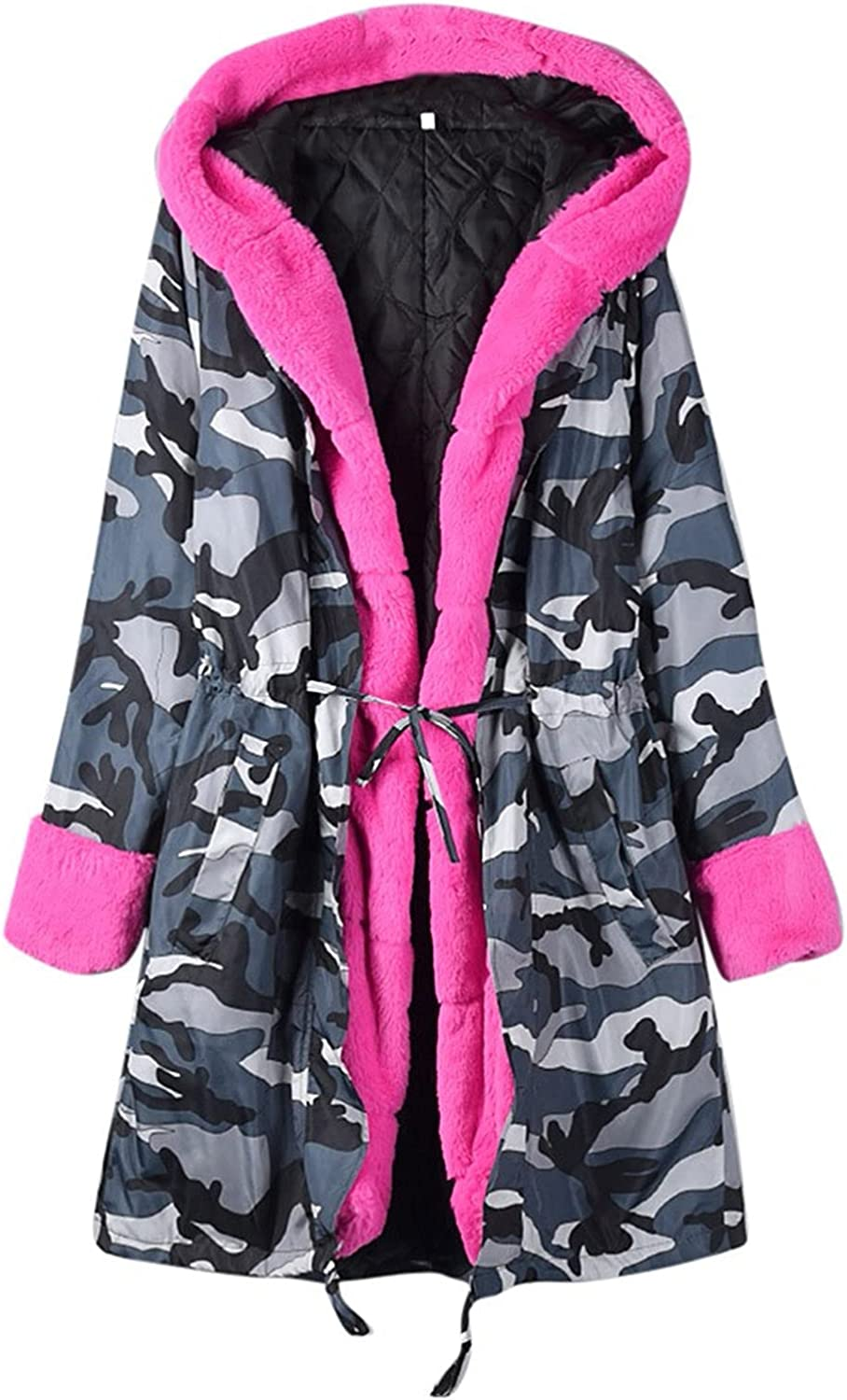 Women's Winter Fleece Lined Down Coat Hooded Thickened Jacket With Pockets Faux Fur Warm Jacket Mid-Long Overcoat