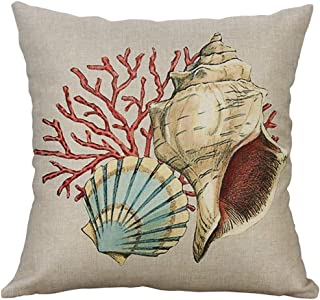 TOPBIGGER Nautical Pillow Covers, Ocean Theme Square Pillow Case Mediterranean Style Decorative Cotton Linen Throw Coastal Cushion Cover Sets Pillow Covers