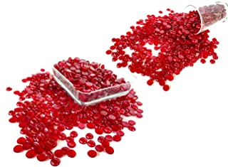 Rastogi Handicrafts Centerpieces, ,Glass Gems for Vase Fillers,Wedding Decoration Tiny, Small Pebbles One side flat 100 pcs (Red) 12mm