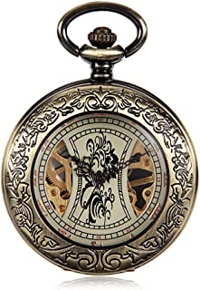 Watch Men's Retro Embossed Bronze Hollow Hollow Mechanical Pocket Watch Foreign Trade New Creative Retro, Fashion Watch (Color : Brass, Size : 4.7x1.5cm)