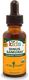 Herb Pharm Kids Certified-Organic Alcohol-Free Sinus Samurai Liquid Herbal Formula, 1 Ounce