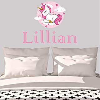 Girl's Custom Name Unicorn Wall Decal, Choose Your Own Name And Letter Style, Multiple Sizes, Nursery Wall Decal For Baby Room Decorations, Vinyl Wall Stickers For Kids, Girl's Name, Unicorn Decor