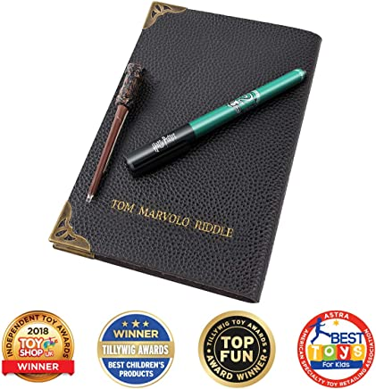 WOW! Stuff Collection Harry Potter Tom Riddle's Diary - Cuaderno de Notas, bolígrafo Slytherin House y Varita UV