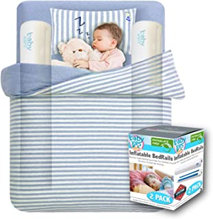 [2-Pack] Bed Bumpers for Toddlers by Baby Xips - Inflatable Toddler Bed Rail Guard are Perfect for Home Or Travel - Our Toddler Bed Rail Makes Transition from Crib Safe and Easy