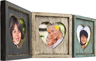 Excello Global Products Rustic Heart Shaped Photo Collage: Holds 3 Pictures, Folding Hinge, Shabby Chic, Distressed Wood, for Table Top or Wall Display. Holds Triple 5.25