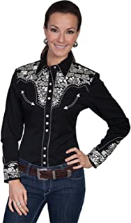 Women's Floral Embroidered Western Shirt - Pl-654Wh