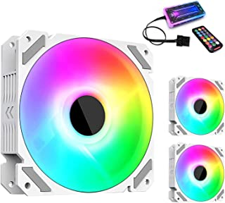Sponsored Ad – RGB Case Fans, 3 Pack White 120mm Quiet Computer Cooling LED Fan for PC case and CPU Cooler, Colorful Rainb...