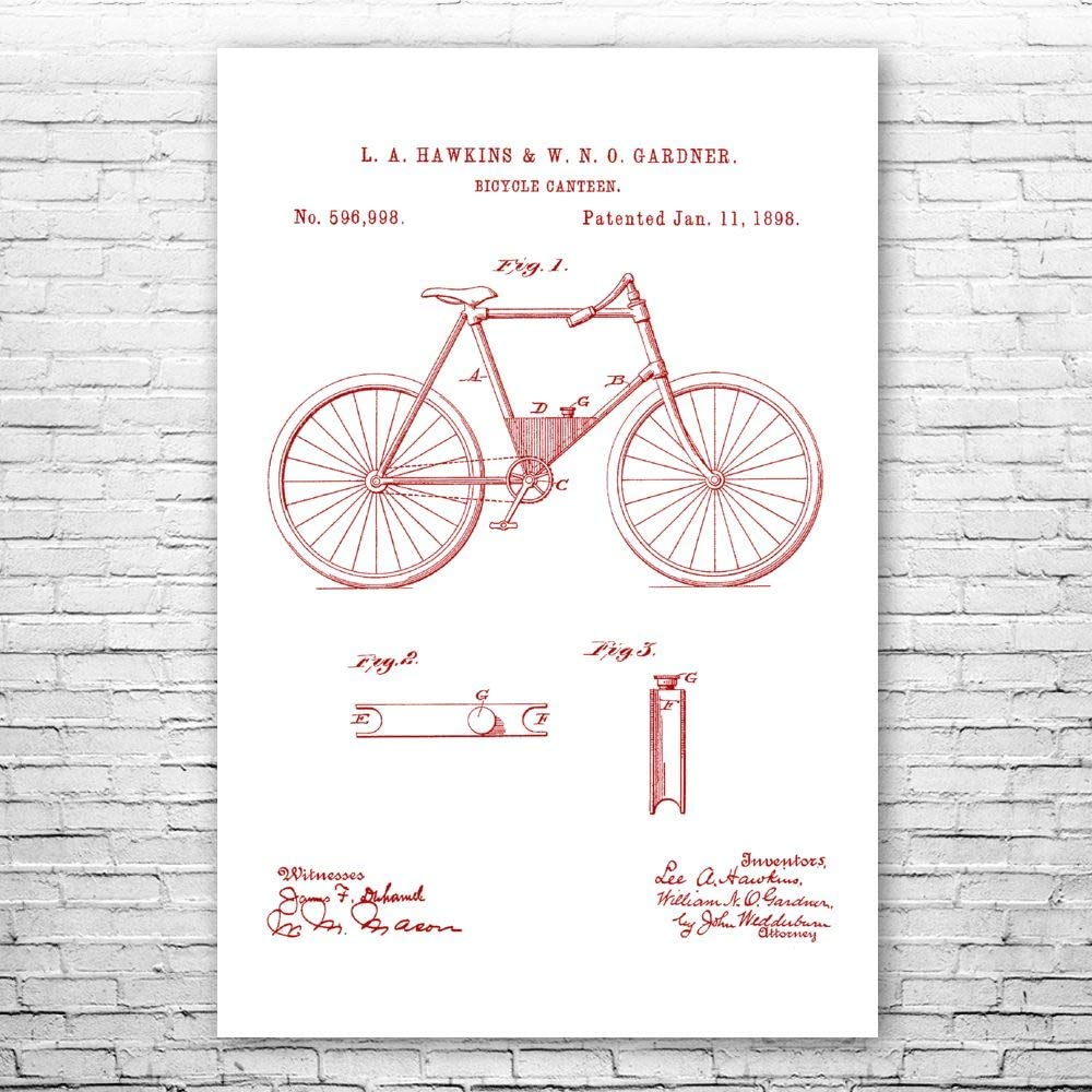 Patent Earth Bicycle Canteen Gift Print latest Poster Cycling NEW