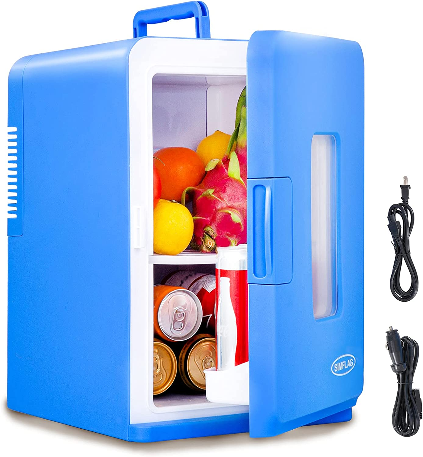 SIMFLAG Mini Fridge 15 Liter, AC/DC Portable Fridge,Compact Cooler and Warmer Small Refridgerater for Bedroom, Home,Office,Dorm, RV,Travel, Skin Care and Foods Storage(Blue)