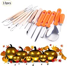 Halloween Pumpkin Carving Kit,13 Pieces Heavy Duty Stainless Steel Carving Tools Set for Halloween Decoration,Easily Carve Halloween Jack-O-Lanterns (orange-1)
