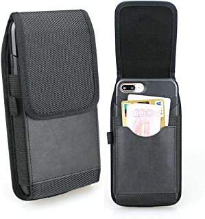 aubaddy 縦型 ナイロンケース ウエストポーチ ベルトループ付き - 内蔵カードスロット 対応機種: iPhone Xs Max, iPhone 8 Plus, 6 Plus, 6s Plus, 7 Plus, Huawei P20 Rro, Mate 8, Mate 9, Honor 8 Pro, Honor 7X, Honor View 10 (と薄いケース) - ブラック