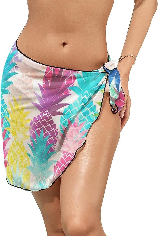 JINJUELS Women's Bikini Swimsuit Cover Up Hawaiian Tropical Pineapple Summer Beach Wrap Skirt Pareo Sarong