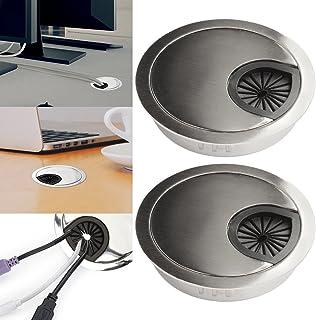 2x metal Cable durchführungen 60mm paso de cable Cable con toma de plástico ABS para más orden en el escritorio, Negro