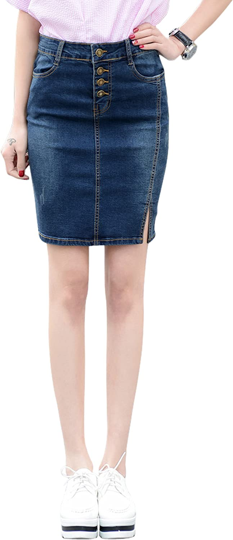 chouyatou Women's Casual High Waist Slim Fit 4-Pockets Denim Pencil Skirt Split