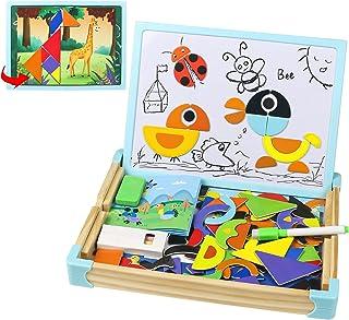 Puzzle Magnetique Enfant Animal Puzzles en Bois Jeux Montessori et Cartes Jouets Educatif pour Enfants Double-Face Puzzle ...