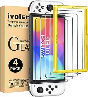 ivoler [4-pack skärmskydd kompatibelt med Switch OLED modell 7 tum 2021 med positioneringshjälp, skärmskydd i härdat glas...