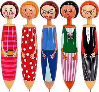 SunAngel Originality Fashion Designed Doll Pen Cartoon ballpoint pen,Cute Creative Stationery and Office Supplies(5PCS)