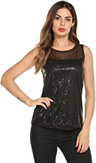 Women's Sleeveless Sequin Tank Top Vintage Casual Sparkly Shimmer Vest Blouse Glitter Evening Party Shirt S-XXL