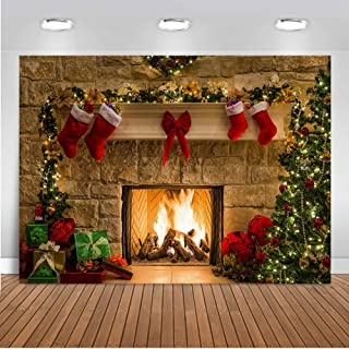 Mocsicka Kamin Hintergrund 2,4 x 1,8 m Vinyl Stoff Weihnachtsbaum Socken Geschenk Kamin Foto Booth Hintergrund Weihnachten Party Dekorationen Banner Fotografie Hintergrund