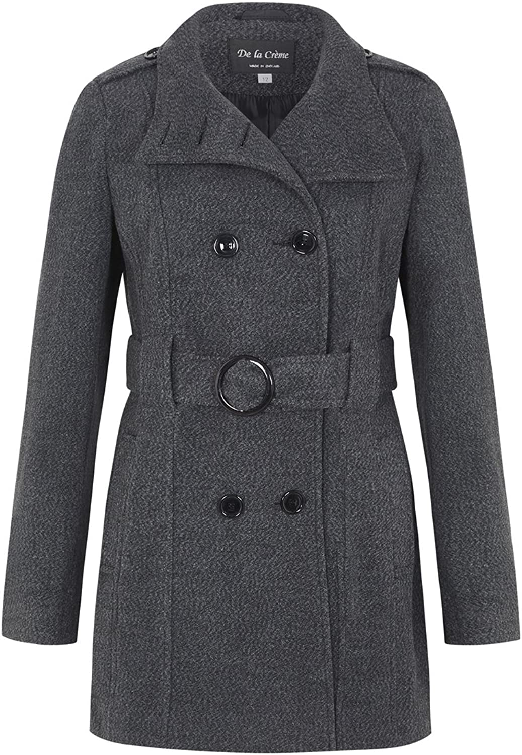 De la Creme  Grey Women`s Wool Belted Winter Coat