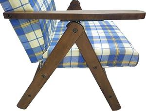Poltrona divano sedia sdraio Molisana in legno di faggio noce marrone cuscino blu scozzese regolabile in 4 posizioni