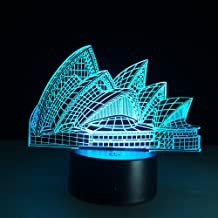 3D Night Light Kids Toys Creative Gift Sydney Opera House LED Illusion 7 Color Changing Touch Table Desk Lamp Architecture Beauty Lamp