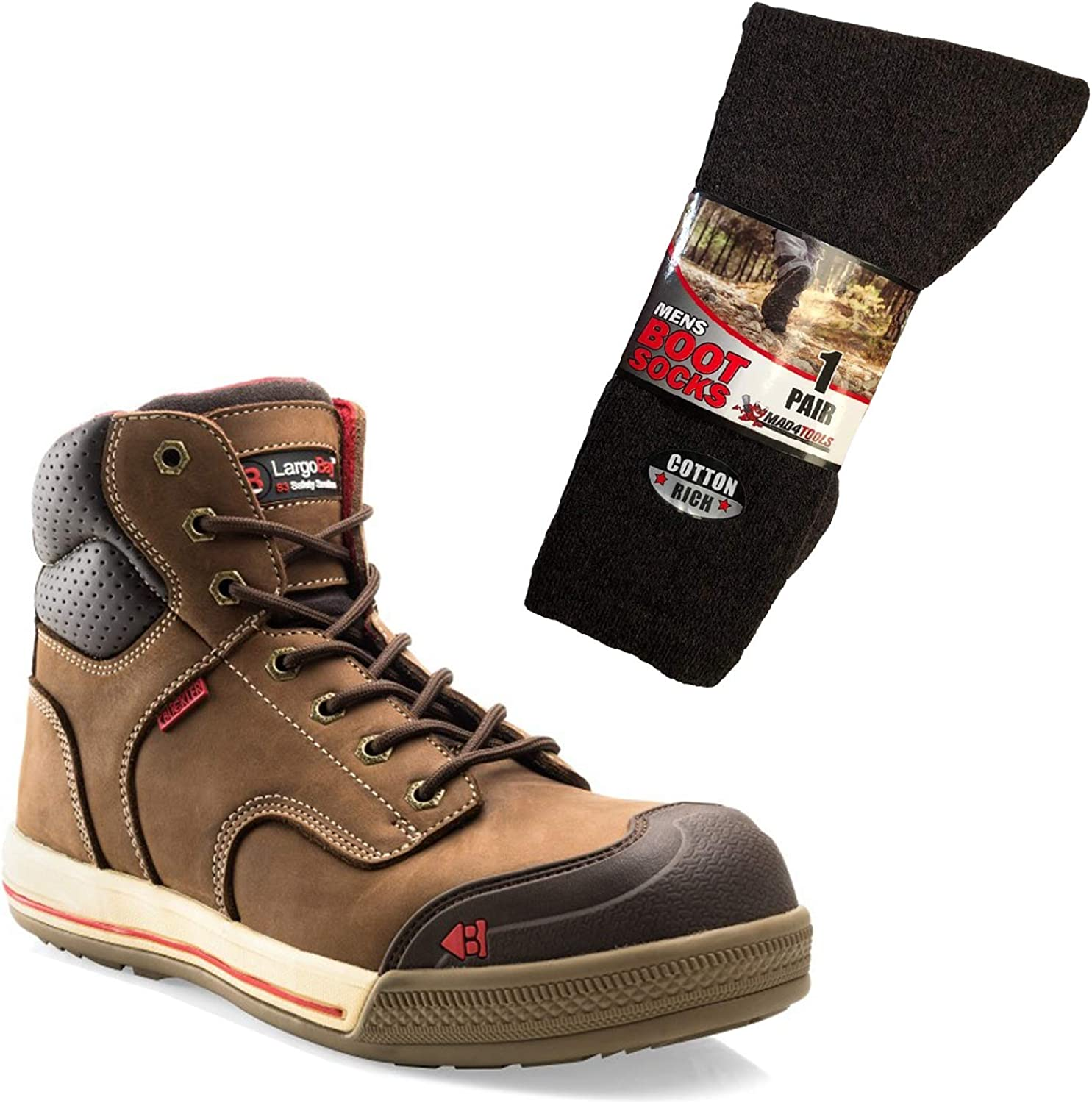 Buckler Largo Bay Safety Hardwearing Work Boots Black or Brown Leather (Sizes 6-13) & mad4tools Work Boot Socks (1 Pair)
