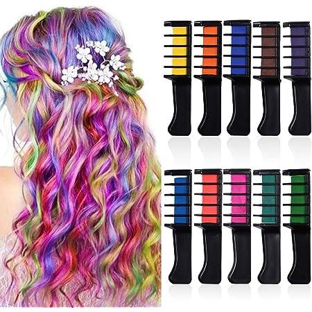 YMHPRIDE Peine de tiza para el cabello Crema para el color del cabello temporal Tinte para el cabello lavable Pincel para el color del cabello ...