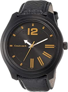Road Trip Black Dial Leather Strap Watch