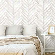 RoomMates RMK11453WP White Herringbone Wood Boards Peel and Stick Wallpaper