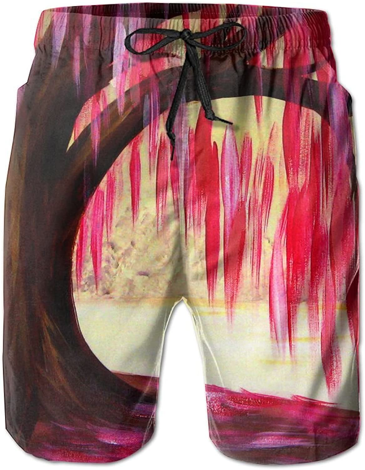 Tydo Red Tree Painting Men's Beach Shorts Classic Swim Trunks Surf Board Pants With Pockets For Men