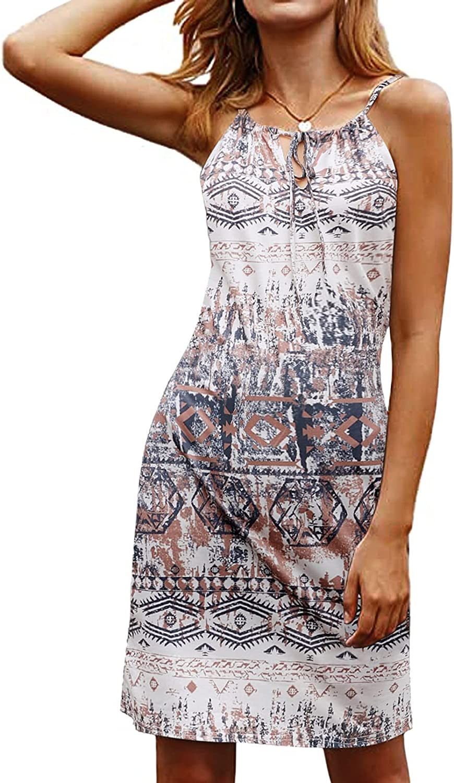 Happy Sailed Women Summer Halter Neck Dress Floral Print Bohemian Beach Dresses S-XL