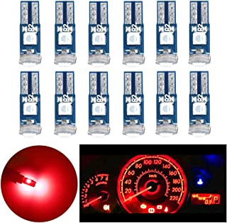 Nanpoku T5 74 73 Wedge LED Bulb Red,Dash Dashboard Instrument Panel Cluster AC Light Bulb Replacement for 12V Car 1 Year W...