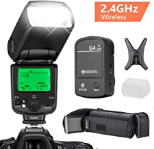 GEEKOTO Flash Speedlite for Nikon DSLR Cameras, i-TTL LCD Display Wireless Flash Speedlite 1/8000 HSS GN58 2.4GHz Wireless Radio Master Slave, Professional Flash Kit with Wireless Flash Trigger