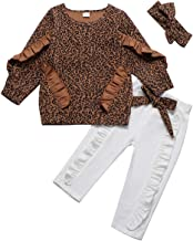 HAPPYMA Infant Toddler Baby Boy Girls Outfits Leopard Ruffle Long Sleeve Tops Bowknot Pants Fall Winter Clothes Sets