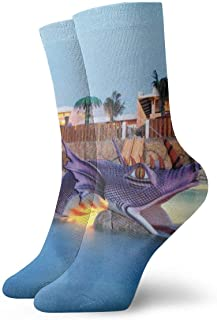 Pengyong, Pengyong - Calcetines deportivos transpirables, diseño de dragón morado en la piscina, para hombres y mujeres