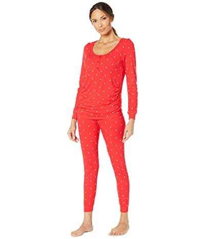 Plush Ribbed Heart Under-Belly Maternity Pajama Set (Red/White) Women