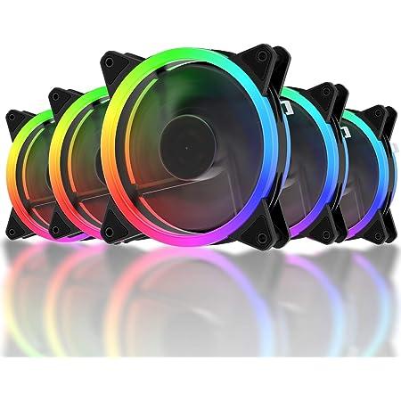 Novonest 120mm RGB PCケースファン LEDリング搭載 静音タイプ 25mm厚 6PIN リモコンで制御 黒い枠 5本1セット 【RGB123-5】
