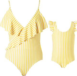 Yaffi Patpat Mommy And Me One-Piece Swimsuit /& Stripes Backless Bath Wear