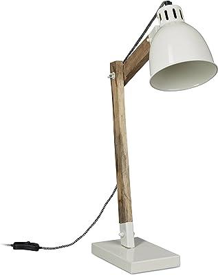 Relaxdays Lampe de bureau design scandinave bois et couleur laquée rétro vintage HxlxP: 65 x 40 x 15 cm abat-jour métal, blanc