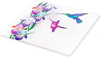 Lunarable Hummingbird Cutting Board, Colorful Birds with Foliage and Blossoming Iris Flowers Coming of the Spring, Decorative Tempered Glass Cutting and Serving Board, Small Size, Pastel Purple