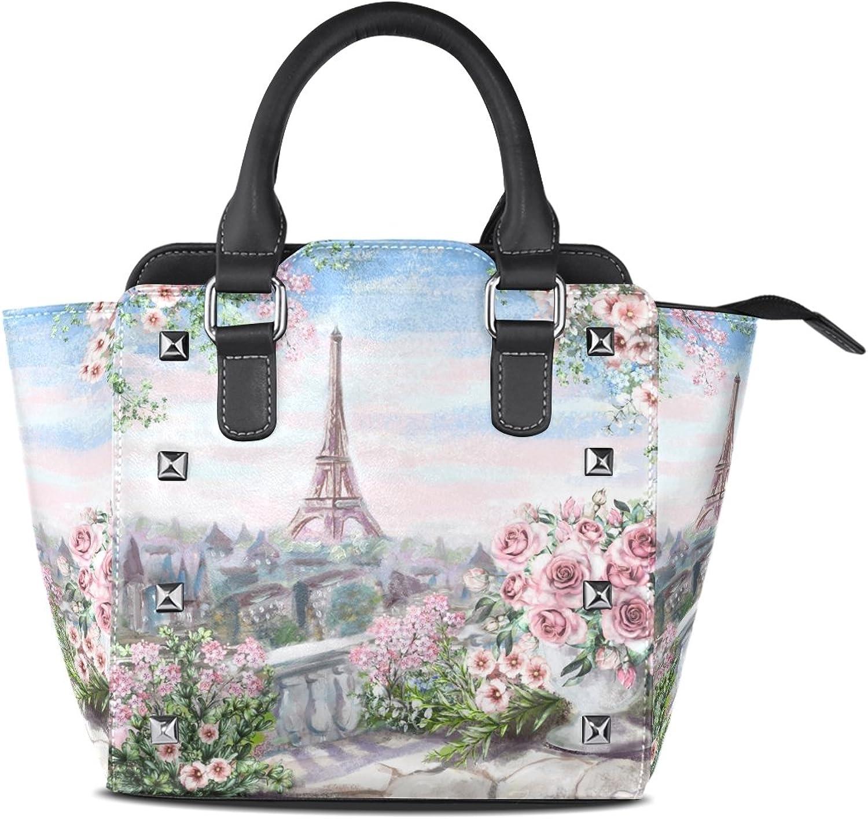 My Little Nest Women's Top Handle Satchel Handbag Oil Painting Summer Paris City Landscape Ladies PU Leather Shoulder Bag Crossbody Bag