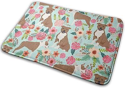 """Staffordshire Terrier Dog Cute Florals Vintage Flowers Floral Pet Pets Sweet Smiling Dogs_16103 Doormat Entrance Mat Floor Mat Rug Indoor/Outdoor/Front Door/Bathroom Mats Rubber Non Slip 23.6"""" X 15.8"""""""