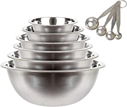 6 Pcs Stainless Steel Mixing Bowls Set with Measuring Spoons - Nesting Mixing Bowls 1, 1.5, 3, 4.5, 5, and 8 Quart Bowls