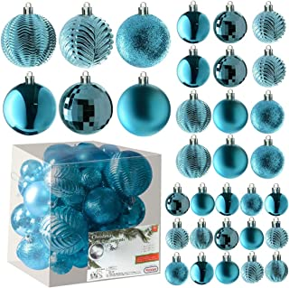 Best Acid Blue Christmas Ball Ornaments for Christams Decorations - 36 Pieces Xmas Tree Shatterproof Ornaments with Hanging Loop for Holiday and Party Deocation (Combo of 6 Styles in 3 Sizes) Review
