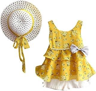 UOMOGO Vestiti Bambini,Coniglio di Prua Modello Camicia Top+Gonna a Pois + Cappello da Sole